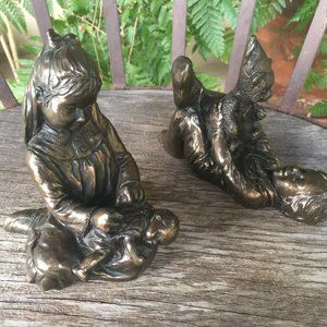 Victorian Girl & Boy at Play Cold Cast Bronze